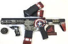 Captain America AR-15 5.56/.223  *COMMANDER CODY* Custom Ar15, Custom Guns, Armas Airsoft, Ar Rifle, Ar Pistol, Gun Art, Fire Powers, Cool Guns, Airsoft Guns