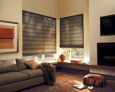 For living room style that is custom, classic, comfortable and right for today, Design Studio™ Roman Shades ♦ Hunter Douglas window treatments #Comfort