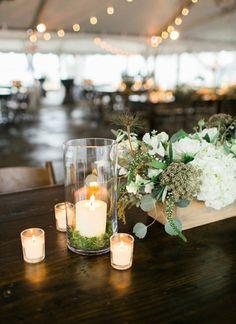votive + wooden box centerpiece | Jamie Clayton #wedding