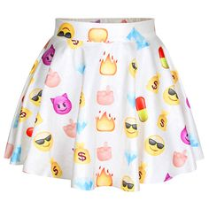 White Fashion Womens Emoji Printed Cute Pleated Skirt ($14) ❤ liked on Polyvore