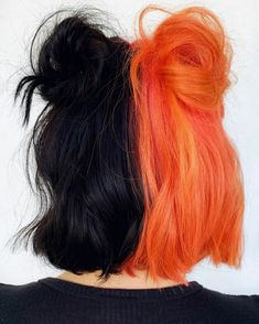 Image about style in hair🌹💯 by on We Heart It Half Dyed Hair, Half And Half Hair, Split Dyed Hair, Dye My Hair, Split Hair, Half Colored Hair, Cute Hair Colors, Hair Dye Colors, Cool Hair Color