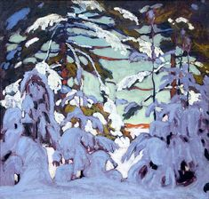 'Snow on Trees' - Lawren Harris Canadian Group of Seven. Group Of Seven Artists, Group Of Seven Paintings, Paintings I Love, Tom Thomson, Emily Carr, Winter Landscape, Landscape Art, Landscape Paintings, Canadian Painters