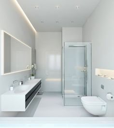 LED light fixtures - tips and ideas for modern bathroom lighting best awesome And contemporary led bathroom lights Modern Bathroom Lighting, Led Bathroom Lights, Cozy Bathroom, Ceiling Design, Minimalist Bathroom, Amazing Bathrooms, Bathroom Ceiling Light, Bathroom Ceiling, Bathroom Design