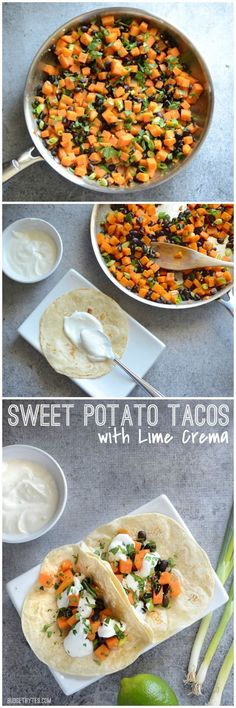 Light and fresh tacos for summer, filled with a sweet potato and black bean hash. and topped with a zesty lime crema.