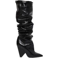Saint Laurent Women 110mm Niki Leather Over The Knee Boots (€1.630) ❤ liked on Polyvore featuring shoes, boots, yves saint laurent, black, leather thigh high boots, leather thigh boots, black leather over the knee boots, black leather boots and over-knee boots