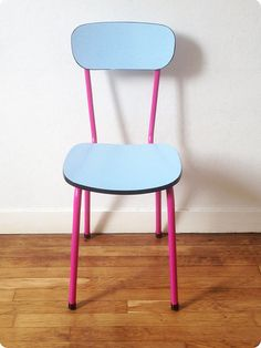 """Pinck chair with blue formica """"Miami"""""""