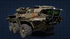 One of the largest vehicles in the game, I was quite disapointed that I couldn't drive it, check out the mini MAC Cannon on it! Unsc Halo, Mobile Command Center, Self Propelled Artillery, Halo Series, Command And Control, Control Unit, Mac Mini, Battle Tank, Small Cars