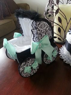 The Adalynn Set Of Three Nine Inch Mint And Black Baby Carriage Centerpieces / Shower Centerpiece / Shower Decor