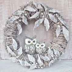 CUSTOM needle felted owls wreath WINTER WREATH silver twig wet felted frosty leaves white berries grey sleeping owls shabby rustic wreath