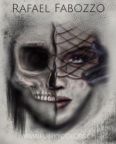 Rafael Fabozzo Funky Colors Tattoo Skull Catrina Eagle Tattoos, Color Tattoo, Halloween Face Makeup, Skull, Colors, Color Tattoos, Colour, Color, Sugar Skull