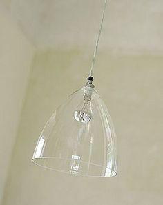 Baileys Home & Garden clear glass dome pendant.