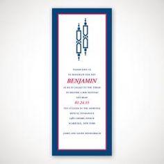 Blue Torah Bar Mitzvah Invitation
