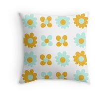 """Cheerful Flowers in Mustard Yellow and Mint Aqua Teal on White. Cute Minimalist Floral Pattern"" by kierkegaard 