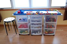 a Rockin' Lego Table;The Ultimate Lego Table; Convert Your Train Table into a Lego Table; Plastic Drawer Unit Lego T Table Lego Diy, Lego Table With Storage, Lego Storage, Storage Units, Storage Ideas, Storage Solutions, Legos, Lego Lego, Bloc Lego