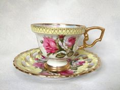 Japanese Hand Painted Fine China Cup & Saucer by LoblollyCove