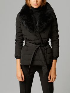 QUILTED DOWN JACKET WITH FUR by Massimo Dutti