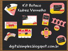 Kit Personalizado Boteco Xadrez Vermelho