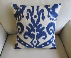 Ikat in Indigo Blue Pillow Cover 20 inches by yiayias on Etsy, $40.00