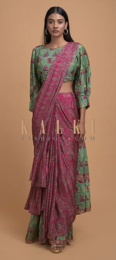 Buy Online from the link below. We ship worldwide (Free Shipping over US$100)  Click Anywhere to Tag Magenta And Green Ready Pleated Ruffle Saree In Crepe Enhanced With Floral And Moroccan Print Online - Kalki Fashion