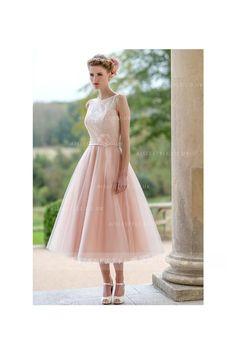 Tea Length Lace Top Bateau Neck A-line Blush Tulle Bridesmaid Dress 2017