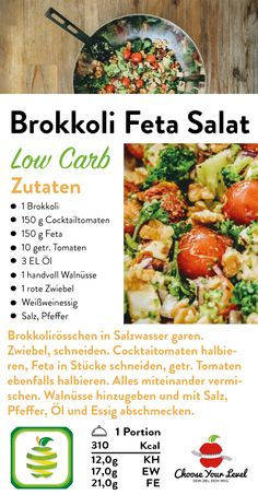 Low Carb Brokkoli Salat - Choose Your Level™ Chicken Curry Salad, Whole30 Chicken Salad, Grilled Chicken Salad, Tortellini, Orzo, Grilled Side Dishes, Low Carb Recipes, Healthy Recipes, Feta Salat