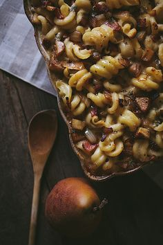 Bacon, Pear, & Blue Cheese Macaroni with Caramelized Onions by Eva Kosmas Flores, via Flickr