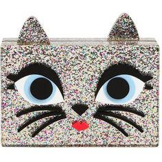 Karl Lagerfeld Women Choupette Glittered Pvc Box Clutch ($250) ❤ liked on Polyvore featuring bags, handbags, clutches, bolsas, cat, silver, cat purse, pvc handbags, glitter clutches and hard clutch