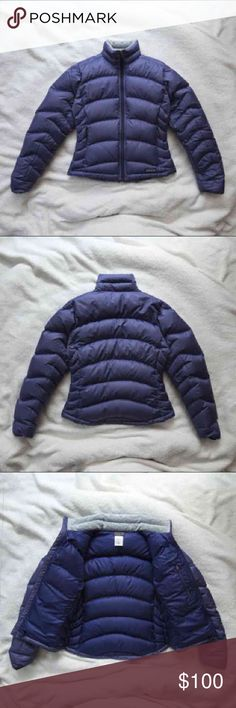 """Patagonia Women's Blue Goose Down Puffer Style 84611, XS, Originally $200  Excellent condition & looks brand new ! It is made with 100% polyester, lining: 100% polyester, insulation: 85% minimum goose down. It measures 22"""" long, 19.5"""" across the chest from under the arm, has a 21"""" arm inseam, and a 25"""" arm outseam. It is very cozy, thicker than the 'down sweater' by Patagonia, and would fit a size 0-2 comfortably. Patagonia Jackets & Coats Puffers"""