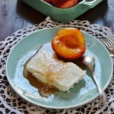 Coconut parfait with sugar coated peaches