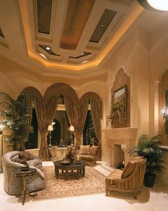 Many elegant and newer homes in South Florida have high ceilings, cauffered ceilings and large windows.