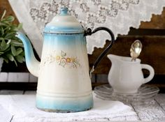 Antique French Enamelware Coffeepot  Faded Blue by graceandivy, $98.00