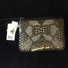 Silver and Gold Embellished Clutch Brand new very detailed embellished clutch! Can match with silver or gold. Never worn but super cute  Big Buddha Bags Clutches & Wristlets