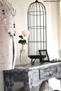 Bird Cage on Rustic Table