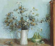 Daisies in white jug and pears, by Margaret Olley. Australian Painters, Australian Artists, Art N Craft, National Treasure, Raise Funds, Flower Art, Daisy, Floral, Paintings