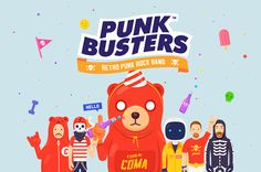 """PUNKBUSTERS™"" Retro Punk Rock Band on Behance"