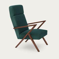 Hunter Green Retrostar Lounge Chair Velvet Line   Bombinate