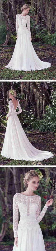 Long Sleeves V Back Lace Charming Affordable Formal Long Wedding Dresses, WG674 #weddingdress #bridaldress #wedding #bride