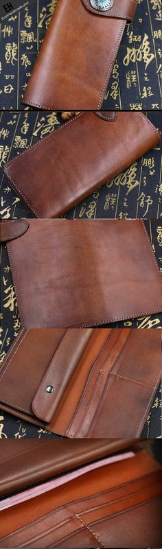 Handmade leather biker trucker wallet leather chain men vintage