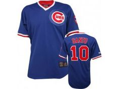 2138f334bb9 MLB Chicago Cubs  10 Ron Santo Blue Mitchell and Ness Jersey