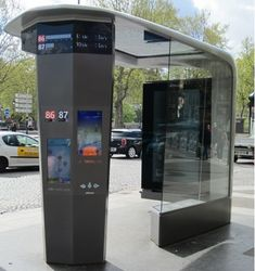 JCDecaux SA, has announced the installation of four of the Group's six Intelligent Street Furniture items selected by the Paris City Authorities as part of its process to evaluate new projects. City Furniture, Urban Furniture, Street Furniture, Futuristic Architecture, Architecture Design, Architecture Diagrams, Architecture Portfolio, Bus Stop Design, Ligne Bus