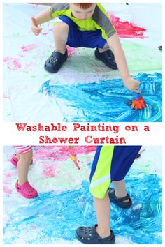 DIY kids project for summer fun! Painting on a shower curtain is a fun summer art activity for preschoolers! Summer Art Activities, Fun Activities For Preschoolers, Painting Activities, Educational Activities For Kids, Infant Activities, Outdoor Activities, Playdough Activities, Learning Activities, Teaching Resources