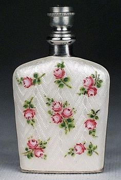 ANTIQUE GUILLOCHE ENAMEL ROSES STERLING SILVER PERFUME FLASK SNUFF SCENT  BOTTLE