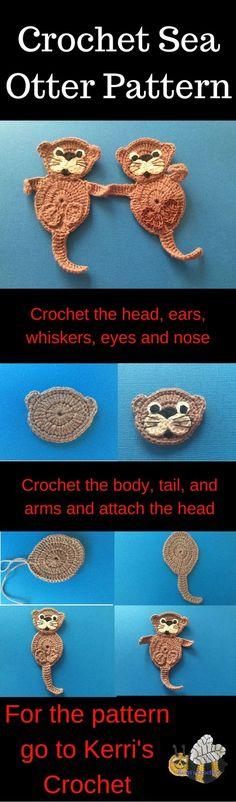 Crochet sea otter pattern. Get the full crochet sea otter pattern and learn how to crochet this sea otter appliqué.