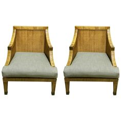 Pair of Italian Midcentury Rattan and Reed Lounge Chairs