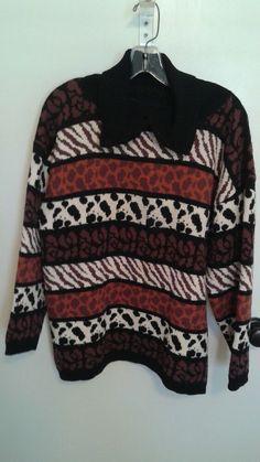 e74608b6166c Hilary Smith Hand Loomed USA Womens Sweater OSFA L M Brown Black Animal  Print  HilarySmith  PulloverSweater  Casual