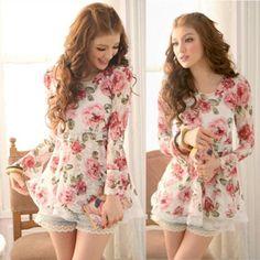 Korean-Fashion-Damen-Rose-Chiffon-Tops-Langarm-Shirt-Spitzenbluse-Kleid