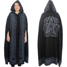 "Grey Pentacle Cloak - Our lightweight black cloak has a gray pentacle on the back and a large gray Celtic border running along the hood and front. The cloak is roomy enough to completely cover your body, has arm slits for ease of movement, and secures from the front with cord ties. 100% cotton, unlined. Length 52"". #Cloaks #MoonsStars #Pentacles #GryphonsMoon"