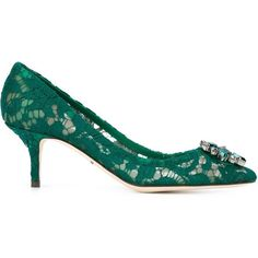 Dolce & Gabbana floral lace embellished pumps ($870) ❤ liked on Polyvore featuring shoes, pumps, green, dolce gabbana shoes, green shoes, small heel shoes, flower print pumps and pointy toe pumps