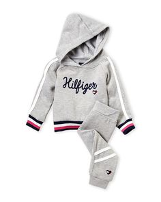 Tommy Hilfiger (Infant Girls) Two-Piece Grey Flocked Logo Jogging Suit Baby Clothes Patterns, Cute Baby Clothes, Infant Girls, Baby Girl Newborn, Kids Outfits Girls, Baby Boy Outfits, Baby Boy Fashion, Kids Fashion, Sports Mom Shirts