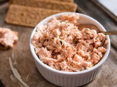 Salmon Rillettes With Chives and Shallots Recipe | While often made with pork, the French spread called rillettes is even more elegant (and easy) to make with salmon. This recipe folds poached and shredded salmon with mayo, cooked shallots, chives, and a touch of spices. It requires no special equipment, so you can whip it up in no time for a fancy hors d'oeuvre.